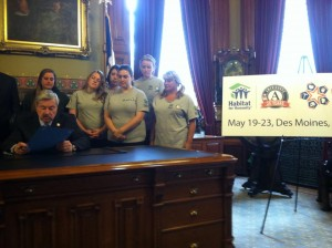 "Governor Branstad of Iowa declares the week ""Habitat for Humanity AmeriCorps Build-a-Thon Week."""