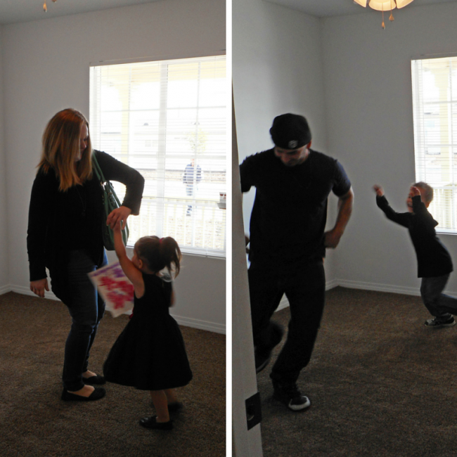 Roger and Rachel celebrated by dancing with their kids in their new rooms.