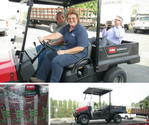 Toro donates a maintenance vehicle, 26 cordless trimers, and 26 cordless blowers.